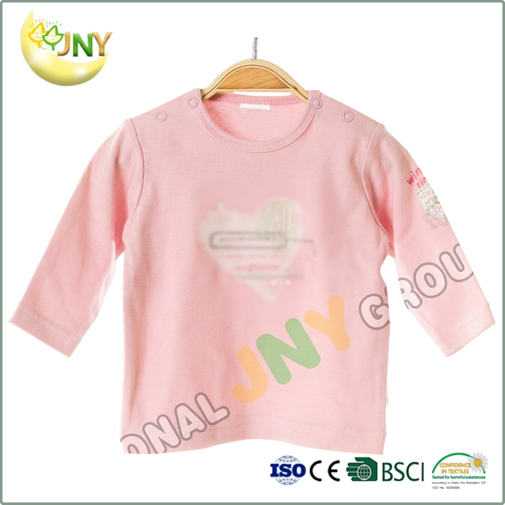 wholesale cotton pink baby tee shirts custom print