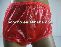 Guaranted 100% pvc ADULT BABY incontinence PLASTIC PANTS red