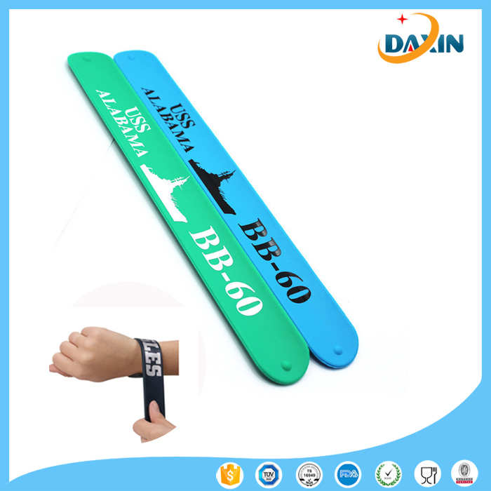 OEM print cheap personized wholesale slap silicone band