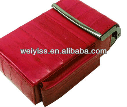 natural leather-red e-cigarette case newest style eel skin ciggy boxes hot selling leather cover for promotion gifts2013