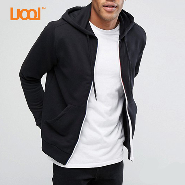 Custom Sweatshirts Chest Zipper With Pocket Side Split Fleece Hooded Black Longline Wholesale Hoodies