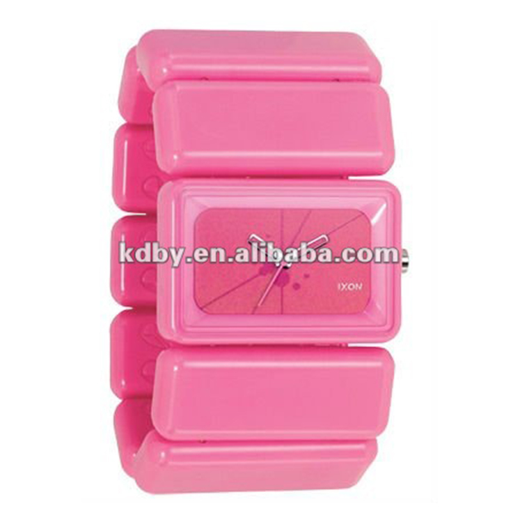 Wide band pink ribbon elastic plastic bangle watch