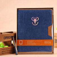 Jean Cloth & PU Leather wallet Stand case For iPad mini
