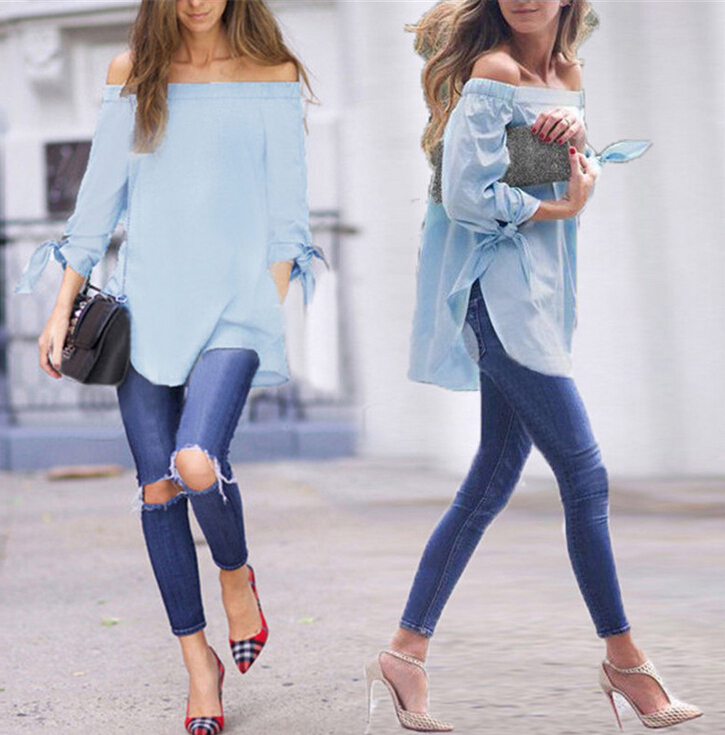 2016 ELEGANT OFF-SHOULDER BLOUSE FOR LADIES PURE COLOR LONG SLEEVE TOP