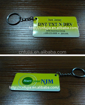 Customized double side embossed printing metal name key chain