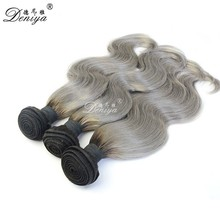 Black Grey Hair Weave Two Tone Ombre 1b/Silver Gray Brazilian Human Hair Weave
