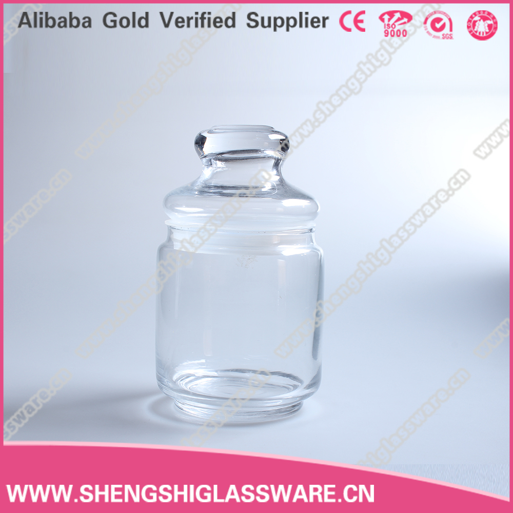 400ml 13oz clear glass jar , glass food candy jar with lid for wholesale