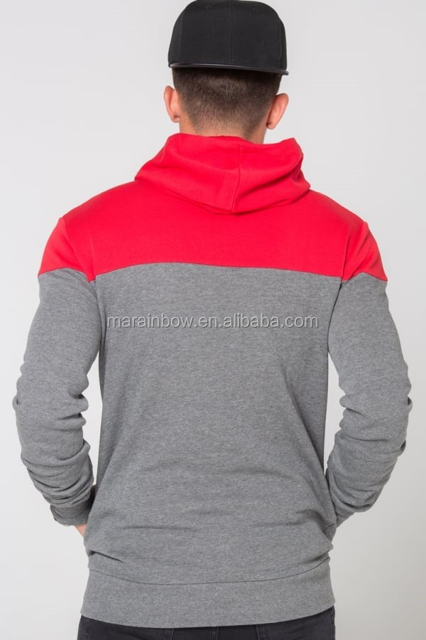 Mens Duo Tone Panel Pullover Hoodie Red/Charcoal Tracksuit Top 70% Cotton 30% Polyester Gym Fitted Hoodie with Thumbholes