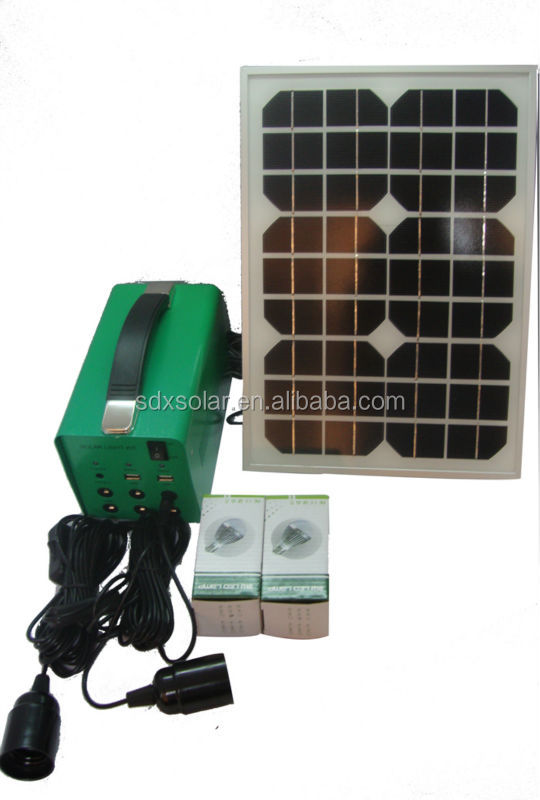 15W mini solar light kits with leds and cables