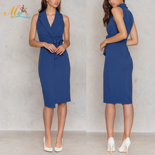 Wholesale dark blue elegant beautiful sexy v neck sleeveless pencil pictures formal women dresses for party or office