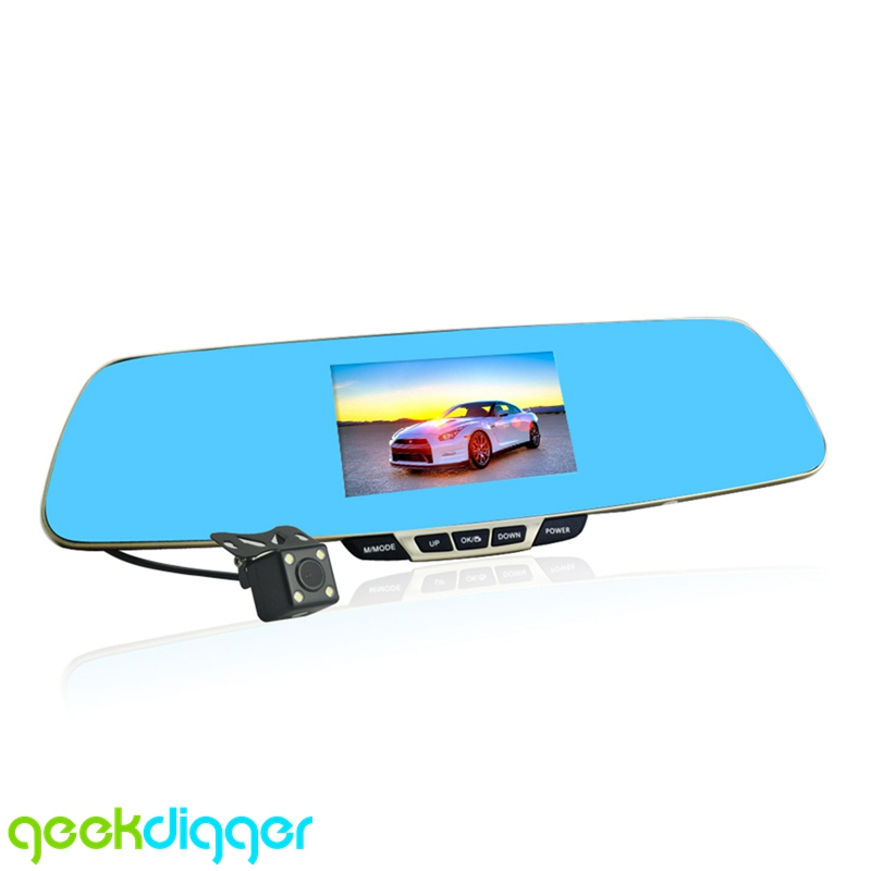 Anytek T6 Blue Rearview Mirror Car Video Recorder with 4.3inch High-definition Screen Built-in G-sensor and Dual Lens