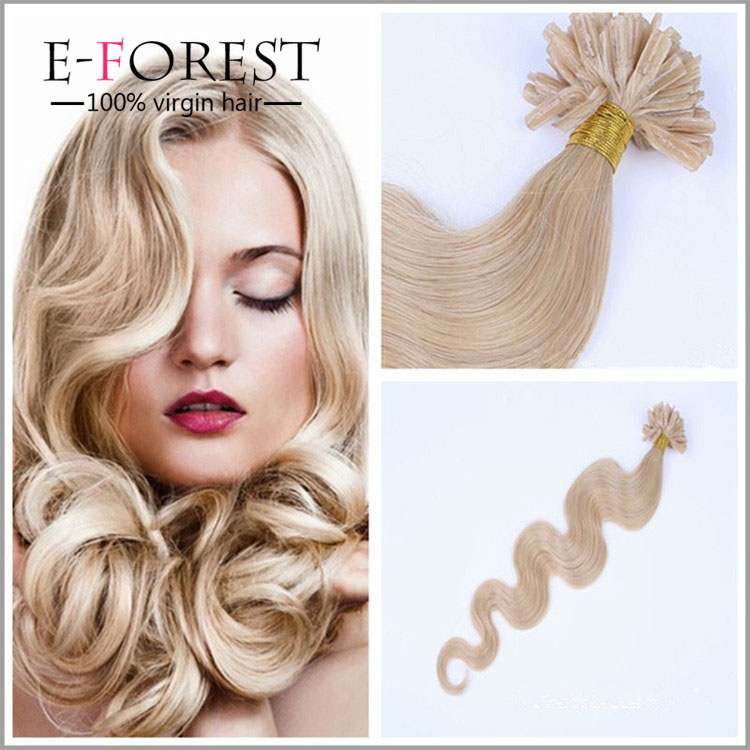 Hot Selling U Tip Hair Extension Body Wave Nail Tip Hair Natural Silky Hair 100g/lot Blonde extension