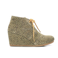 Wholesale women ankle boots Cheetah Suede Womens Desert Wedges