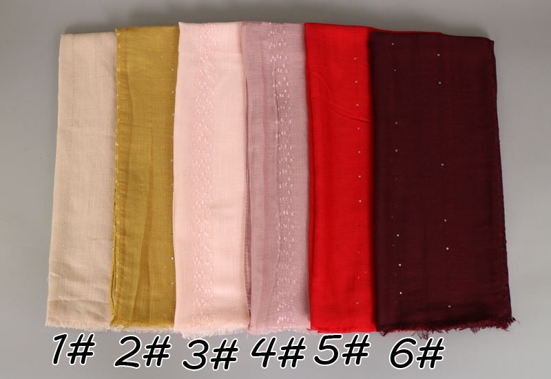 Wholesale New Fashion Crystal Beads Muslim Hijab Rhinestone Wraps Solid Color Cashmere Female Scarf