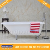 Reversible Drain Location and Soaking Function cast iron bathtub with clawfeet