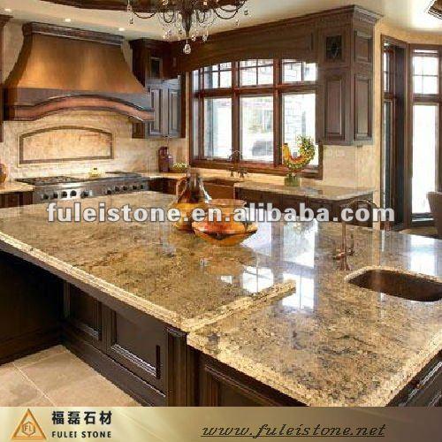 Importado de oro granito cocina isla superior encimeras y for Granito importado colores