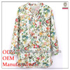 the most popular Korean women loose fit flora printed ladies office wear blouse