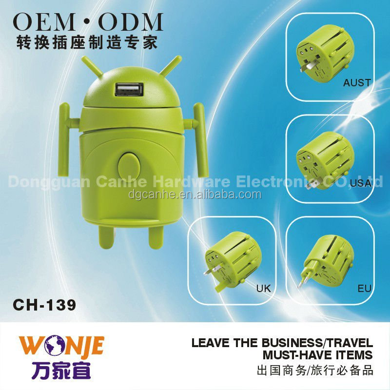 Special designed Android-shaped universal travel adapter available around the world