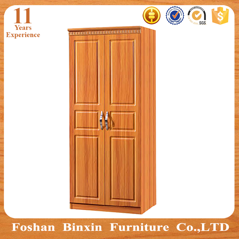 Cheap MDF particle board 2 door wooden small wardrobe