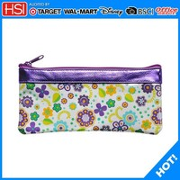 fashion cheap square shape flower bag pu travel size toiletries bag