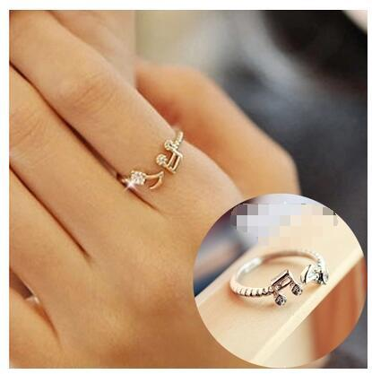 ra267 Cute Musical Note Adjustable Openings Imitation Rhinestone Midi Rings for Women Jewelry