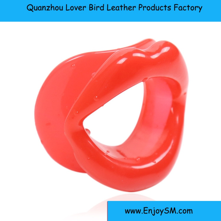 Adult Fetish Sex Products Pink /Red Rubber Open Mouth Gag For Woman Bondage Lips O Ring Gag Sex Toys For Couples