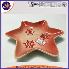 Cute star stoneware ceramic dinner plates for a special festival gift, top sale and high quality ceramic plate for restaurant