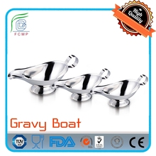 High Quality Shiny Stainless Steel Gravy Sauce Boats, Set of 3