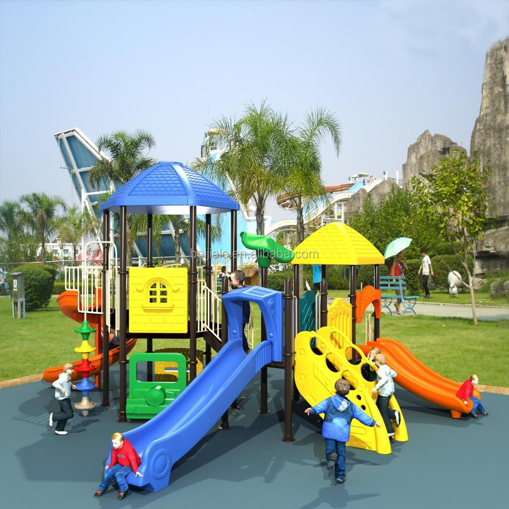 CE approved amusement park fish scale house playset with plastic and galvanized pipe materials