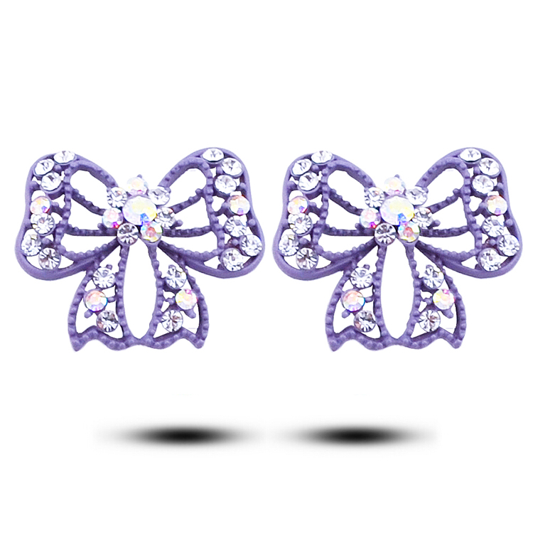 E080 Rhinestone Bowknot Ladies Earrings Allergy Free Fashion Earrings Women Jewelry New 2017 Latest Earring Designs