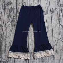 Quatrefoil lace floral patternd ruffle pants fashion icing legging capris kids clothes girls baby icing ruffle pants