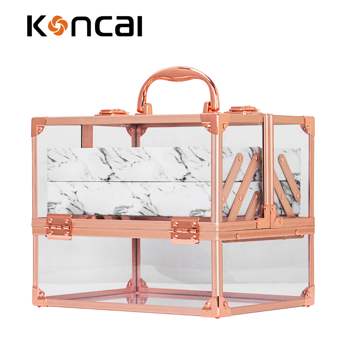 New Arrival Beauty Hard Vanity Case With Rose Color Acrylic Box With Marble Tray