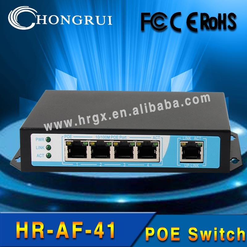 Stock Products Status 802.3 af 48v 100 Mbps 4-ports switch poe for for CCTV IP camera