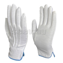 Seeway Inspection Gloves White Cotton Hand Gloves With PVC Grip Dots On Palm