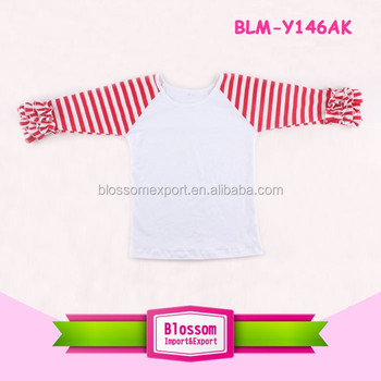 Top sale wholesale icing raglan shirts christmas 3/4 ruffle sleeve raglan children wear toddler ruffle raglan