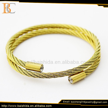 New models gold plated scroll upper 316L stainless steel arm double spiral bracelets for unisex
