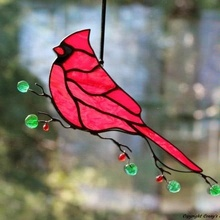 Wholesale Bird Cardinal Stained Glass Suncatcher