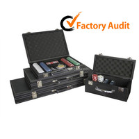 Professional casino fashion poker set in Pu leather case with wooden divider