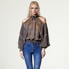 Fashion American Design Women Printed Long Sleeve Sexy Strapless Blouse Loose Fringed Tops Summer Floral Casual Wear