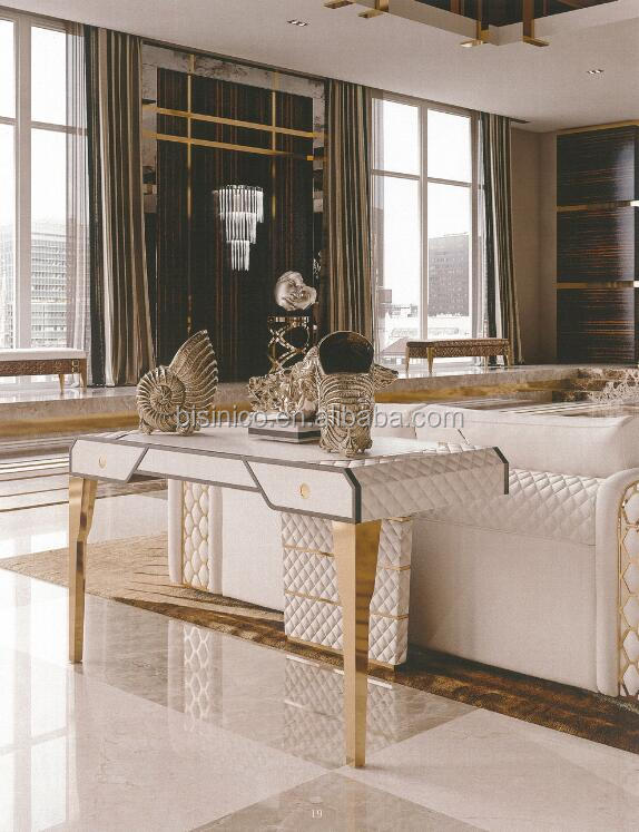 New Arrival White and Gold Quilting Design Living Room Sofa Cocktail Table/ Decorative Console Table/ Dressing Table with Drawer