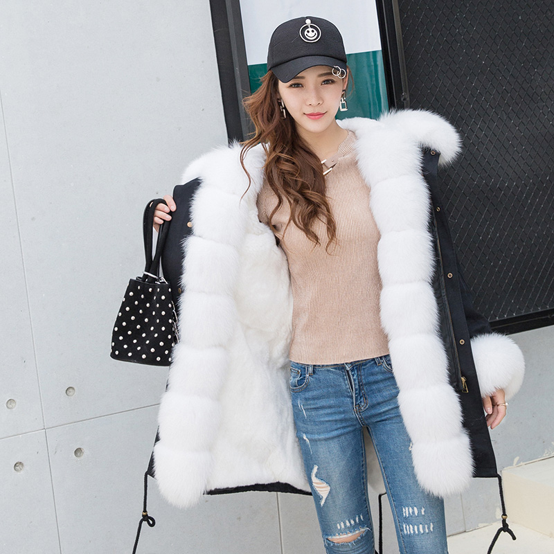 New style fashion women big fox fur Hooded Parka fur with rabbit fur Lining