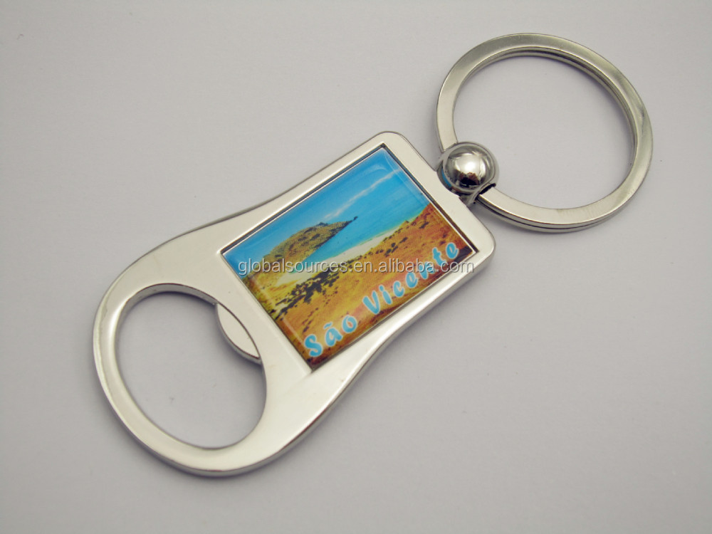 Top sales promotional beer bottle opener keychain with epoxy logo