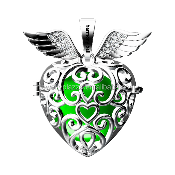 ENGELSRUFER SILVER harmony ball angel wing heart rhodiumn mexican bola cage