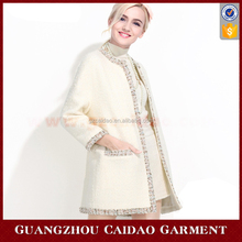 Custom Elegant Vintage Round Neck Tweed Overcoat for Ladies