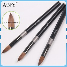 ANY Nail Art Acrylic Crystal Extension Nails Building Matt Black Metal Handle Kolinsky Acrylic Nail Brush