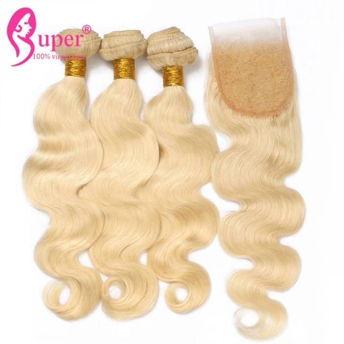 Cheap Double Drawn Cuticle Aligned Golden Blonde Hair Color Bundles With Swiss Lace Closure 4x4 Body Wave