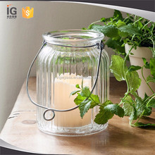 Clear Ribbed Glass Lantern Candle Holders