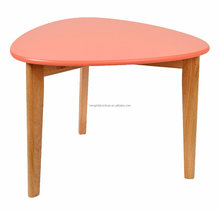 scandinavian solid wood oak end table with red MDF top