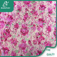Pink cotton lace embroidery fabric for baby chemical lace embroidery fabric