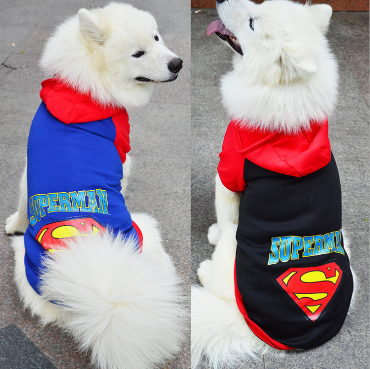 Lastest model dog hoodies for large dogs fabric large size pet dog clothes with cap
